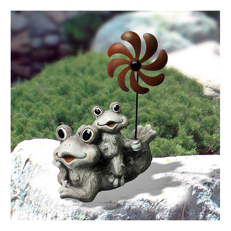 "Two Frogs with a Wind Spinner 19"" High Stone Garden Statue"