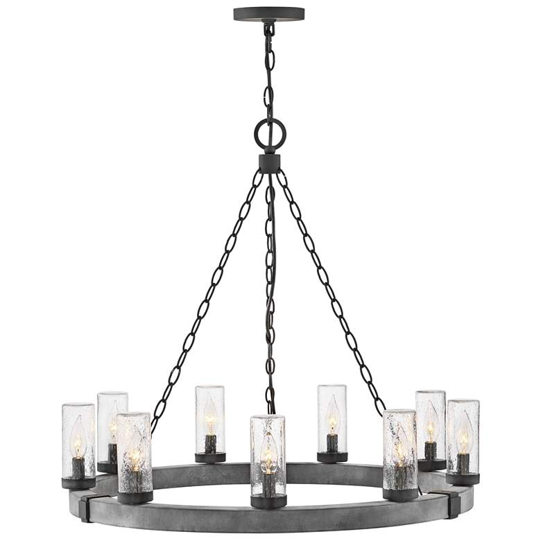 "Sawyer 30"" Wide Aged Zinc Wagon Wheel Outdoor Chandelier"