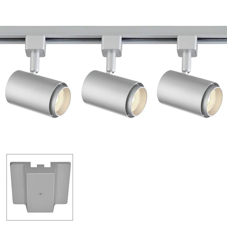 3-Light Silver Cylinder 10W LED Floating Canopy Track Kit
