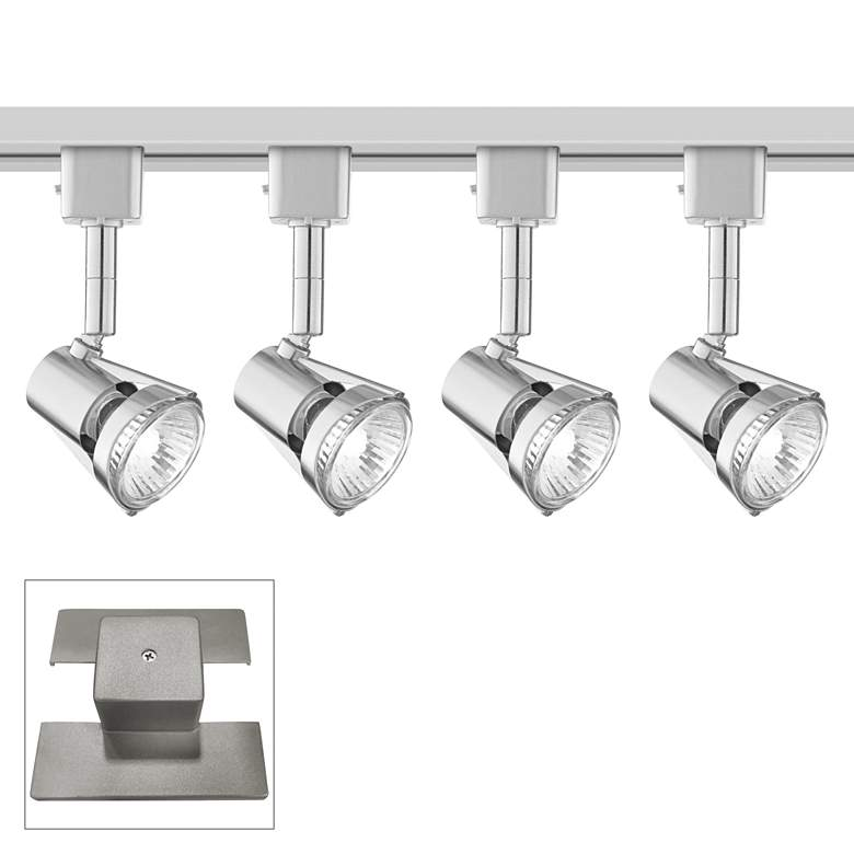 4-Light Brushed Nickel Halogen Floating Canopy Track Kit