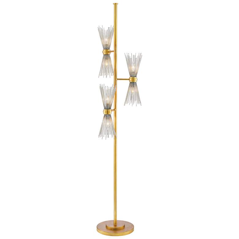 Currey and Company Novatude Antique Gold Leaf Floor Lamp