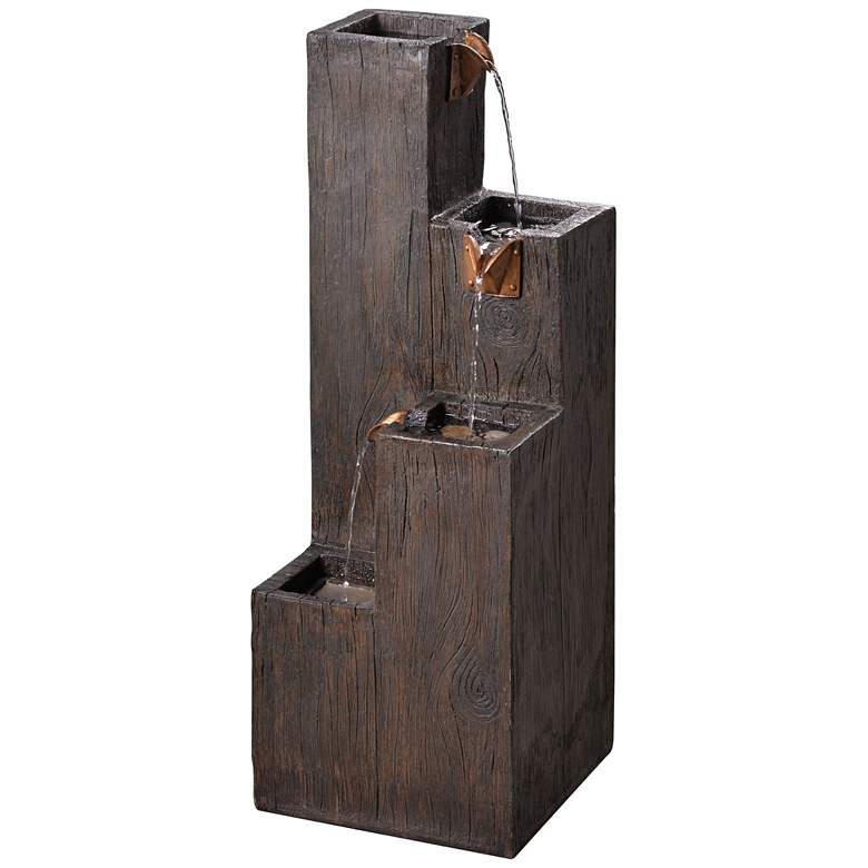 "Lincoln 34"" High Wood Grain Rustic Modern Fountain"
