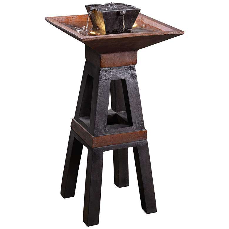 """Kyoto 41"""" High Copper and Bronze Outdoor LED Floor Fountain"""