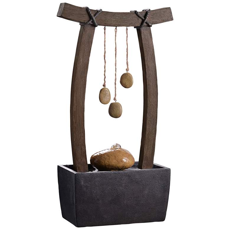 "Reflection 21 1/2""H Wood Grain Indoor/Outdoor Table Fountain"