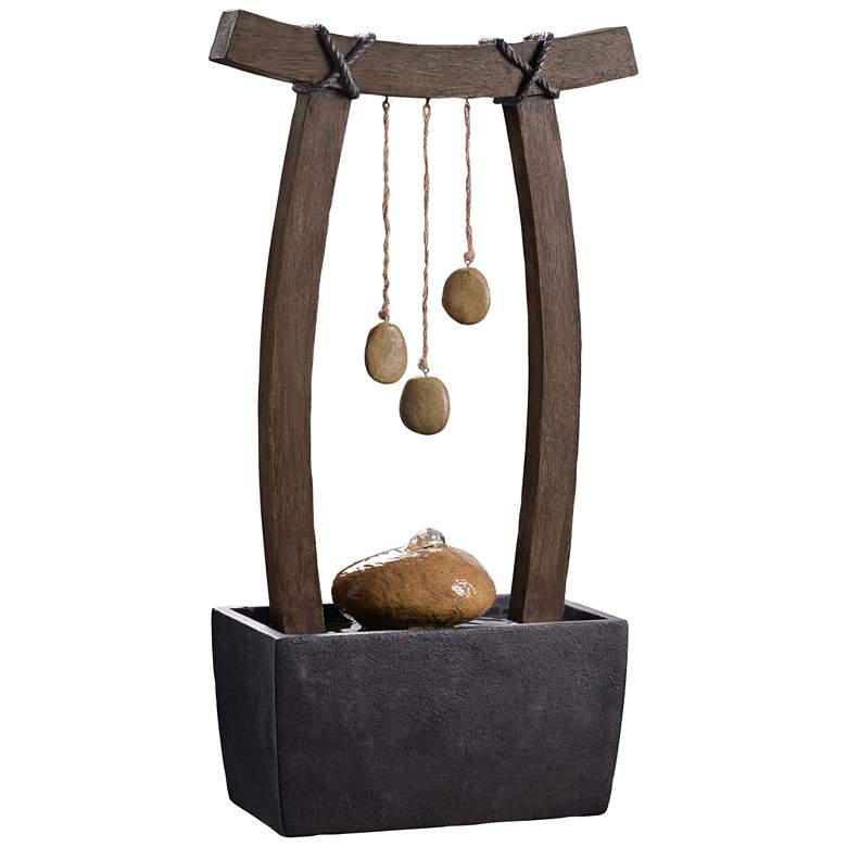"Reflection 21 1/2"" High Wood Grain Indoor Table Fountain"