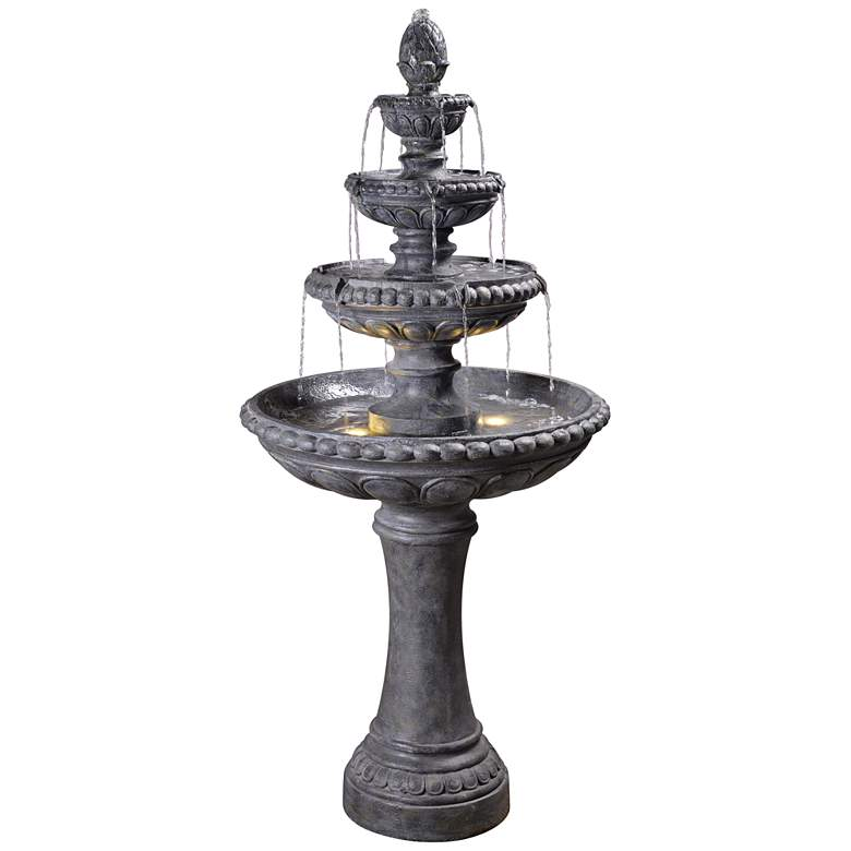 """Tucson 65"""" High Zinc 4-Tier Outdoor LED Floor Fountain"""