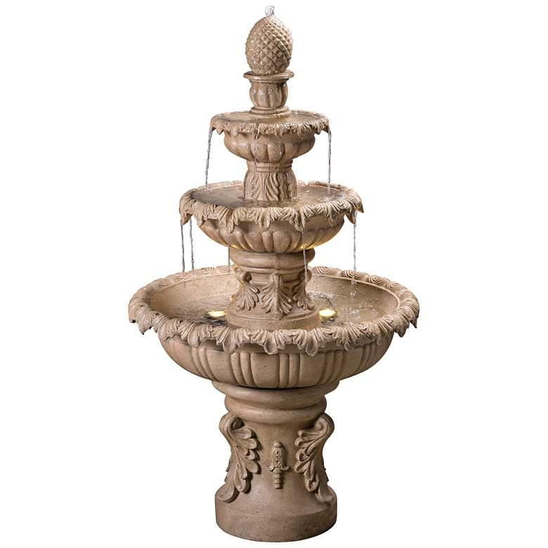 "Ibiza 45""H Sandstone 3-Tier Outdoor LED Floor Fountain"