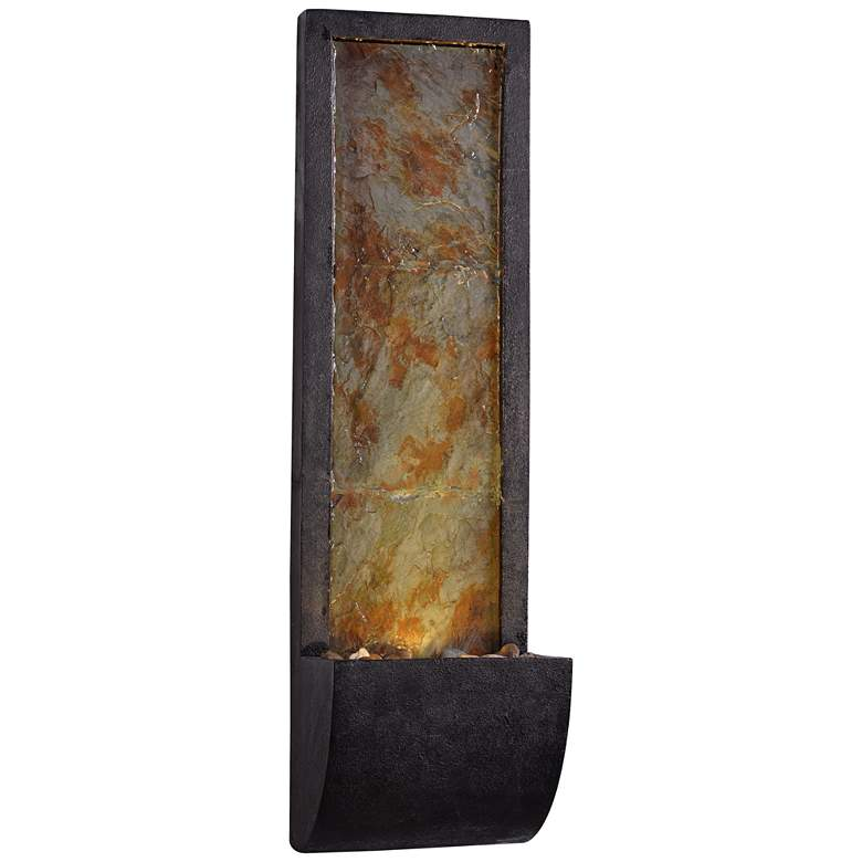 """Triptych 37"""" Natural Slate Modern Wall Fountain with Light"""