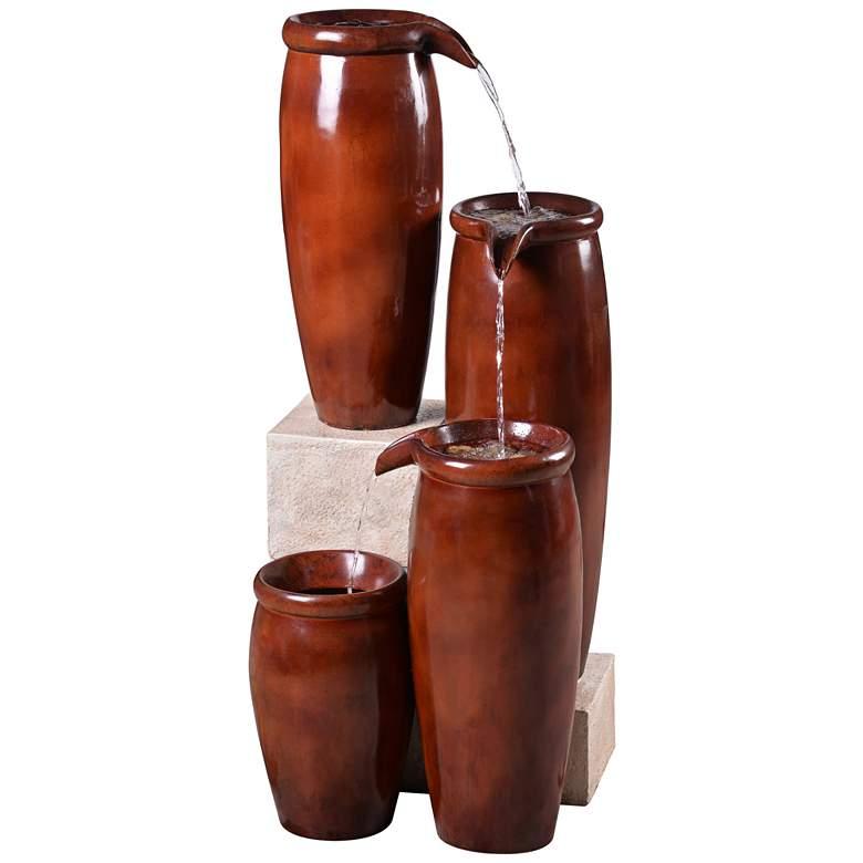 "Vessel 36"" High Textured Rustic Ceramic Outdoor Fountain"