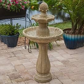Frost 44 1 4 H Sandstone 3 Tier Outdoor Solar Floor Fountain