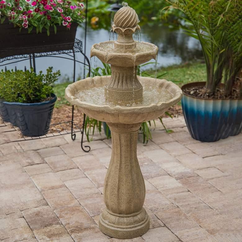 """Frost 44 1/4"""" High 3-Tier Outdoor Garden Solar Fountain"""