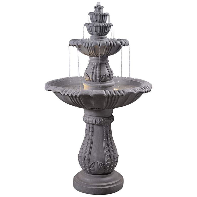 "Florentine 56""H Concrete 4-Tier Outdoor LED Floor Fountain"