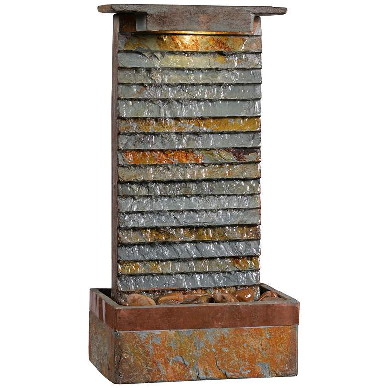 """Stave 19"""" Slate Stone Rustic Modern Fountain with LED Light"""