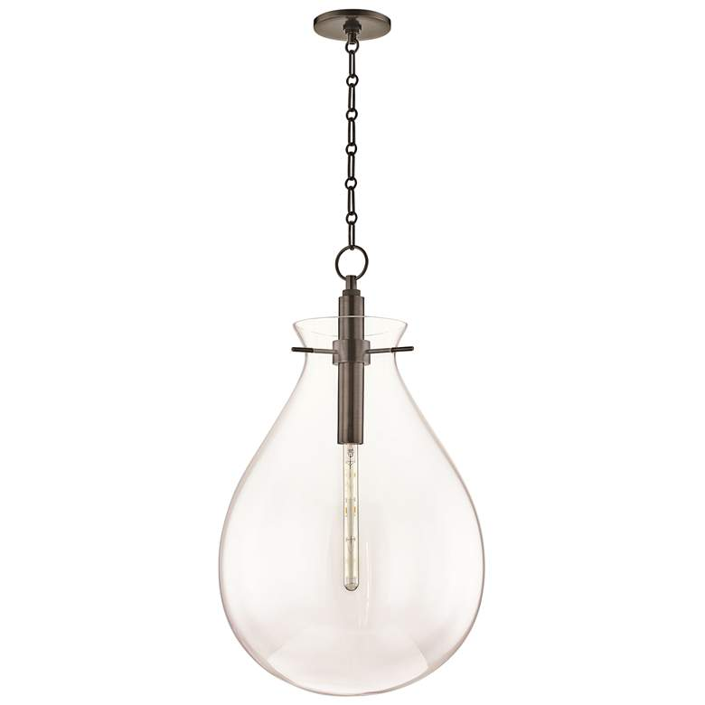 """Ivy 18"""" Wide Old Bronze LED Pendant Light with Clear Glass"""