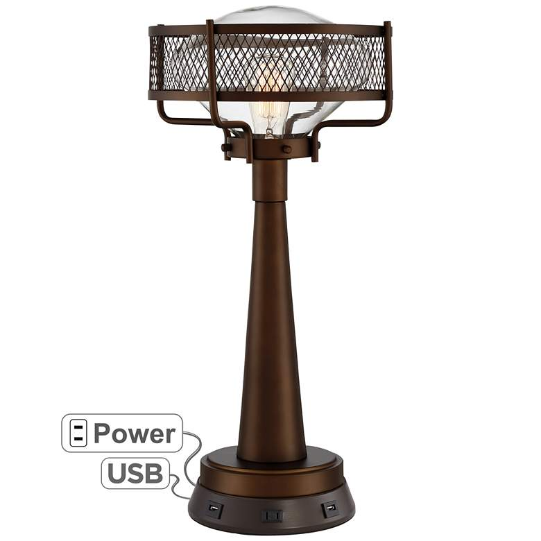 Travis Bronze Farmhouse Table Lamp with USB Workstation Base