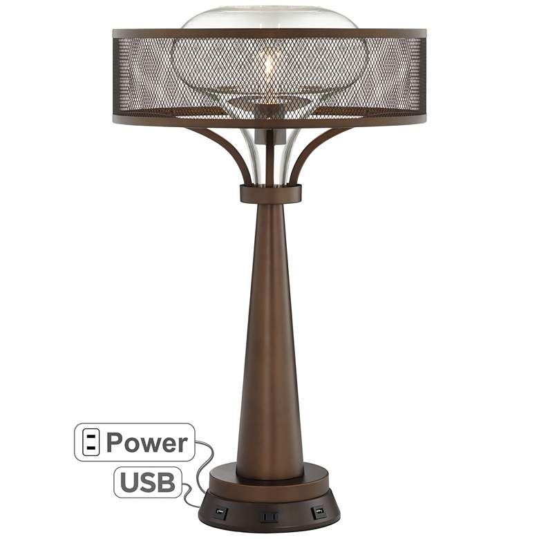 Luis Oil Rubbed Bronze Table Lamp with USB Workstation Base