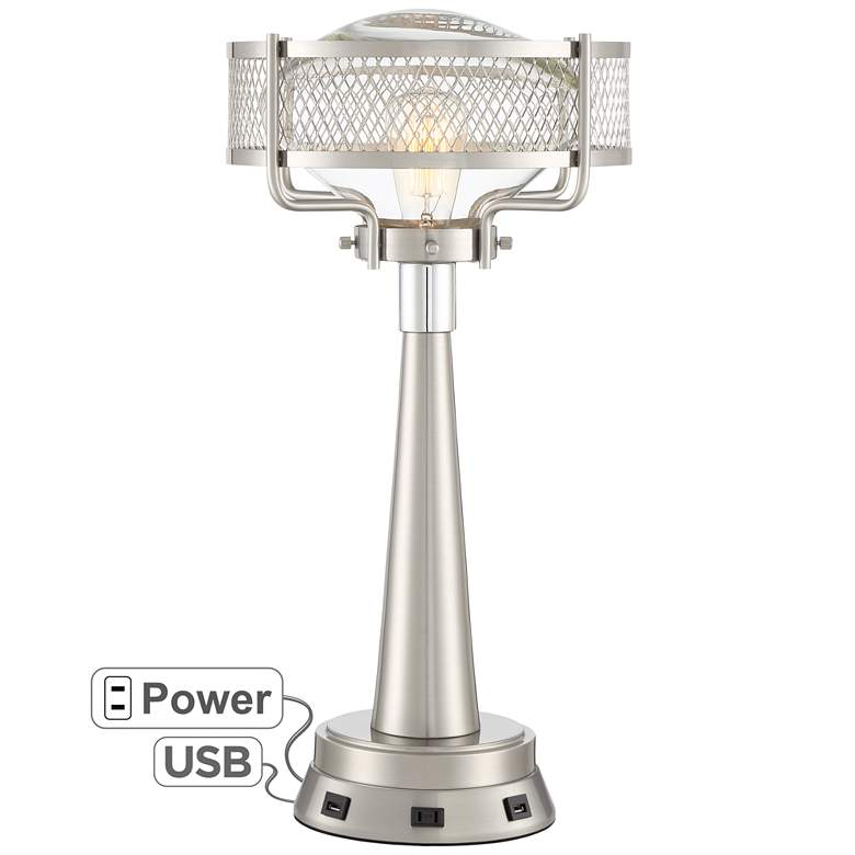 Travis Brushed Nickel Modern Table Lamp with USB Workstation Base