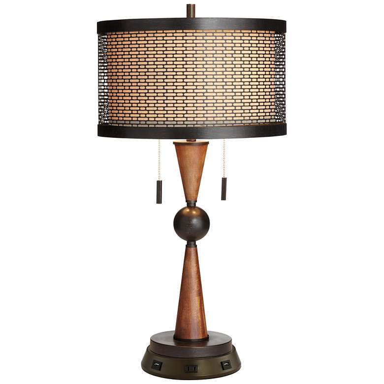 Hunter Bronze Cherry Wood Table Lamp with USB Workstation Base