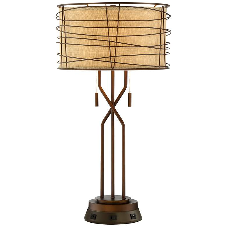 Marlowe Bronze Woven Metal Table Lamp with USB Workstation Base