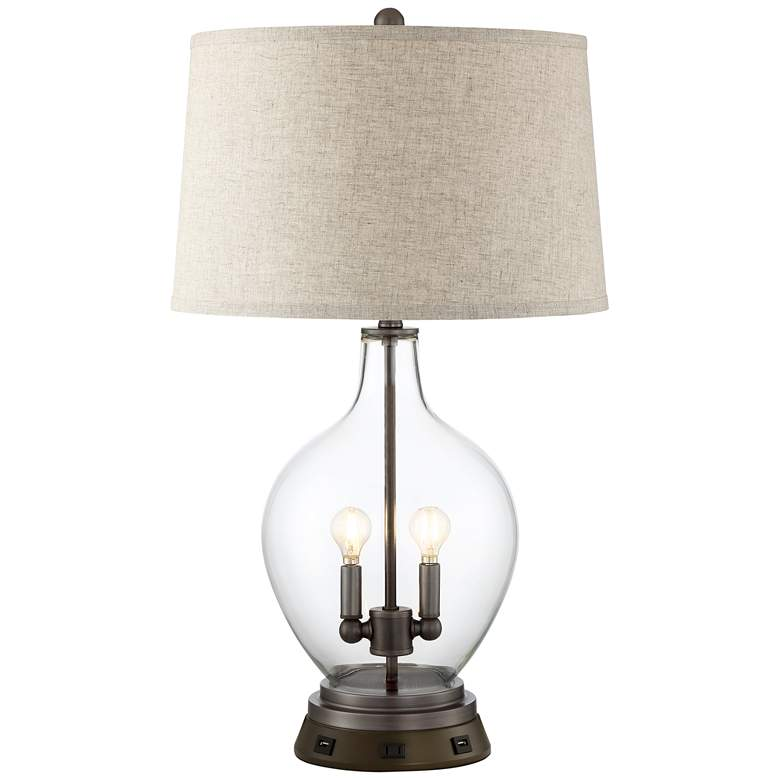 Becker Glass Night Light Table Lamp with USB Workstation Base