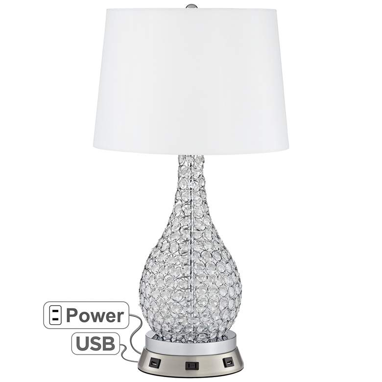 Kasey Beaded Gourd Table Lamp with USB Workstation Base