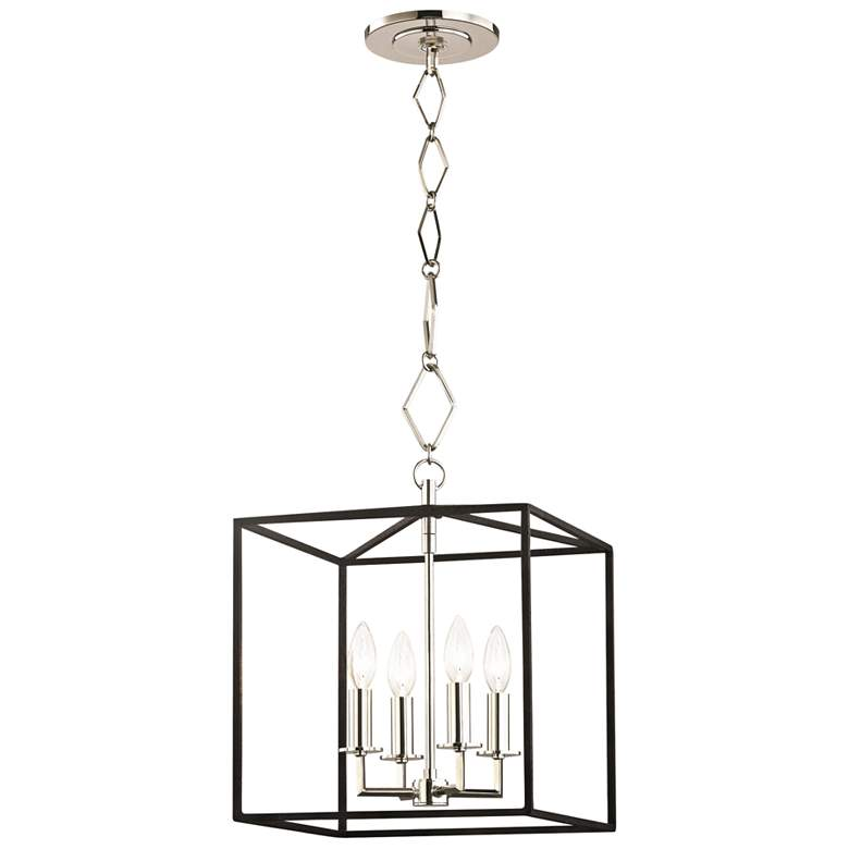"""Richie 13"""" Wide Polished Nickel and Black 4-Light Pendant"""