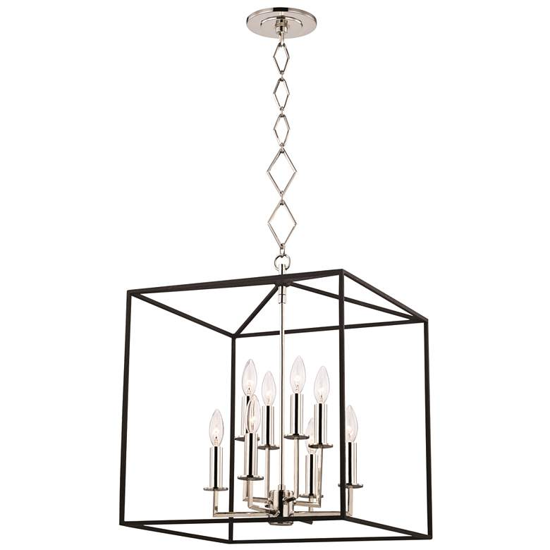 "Richie 18"" Wide Polished Nickel and Black 8-Light Pendant"