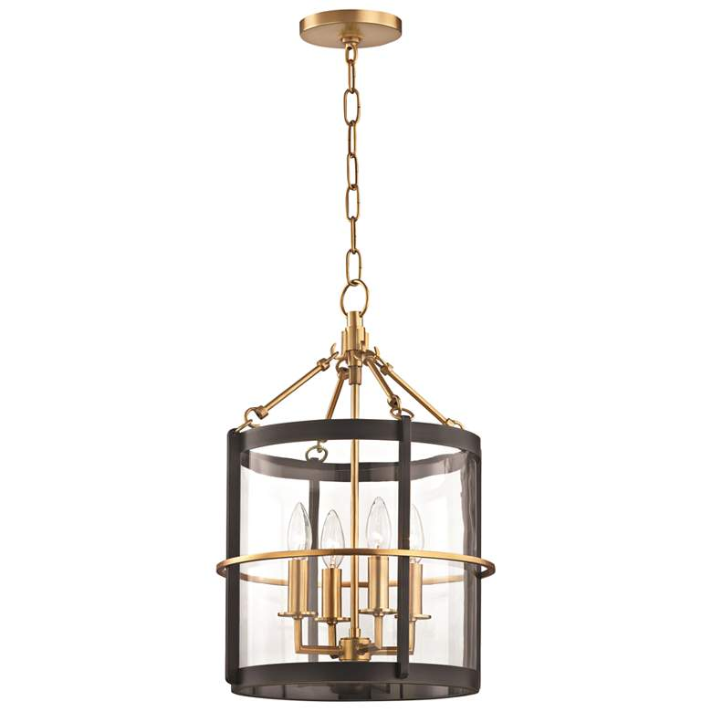 """Ren 13 3/4"""" Wide Aged Brass and Old Bronze 4-Light Pendant"""