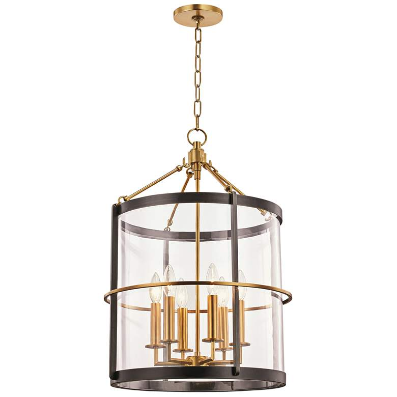 """Ren 17 1/2"""" Wide Aged Brass and Old Bronze 6-Light Pendant"""
