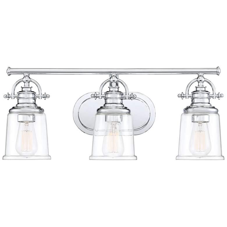 "Quoizel Grant 23"" Wide Polished Chrome 3-Light Bath Light"