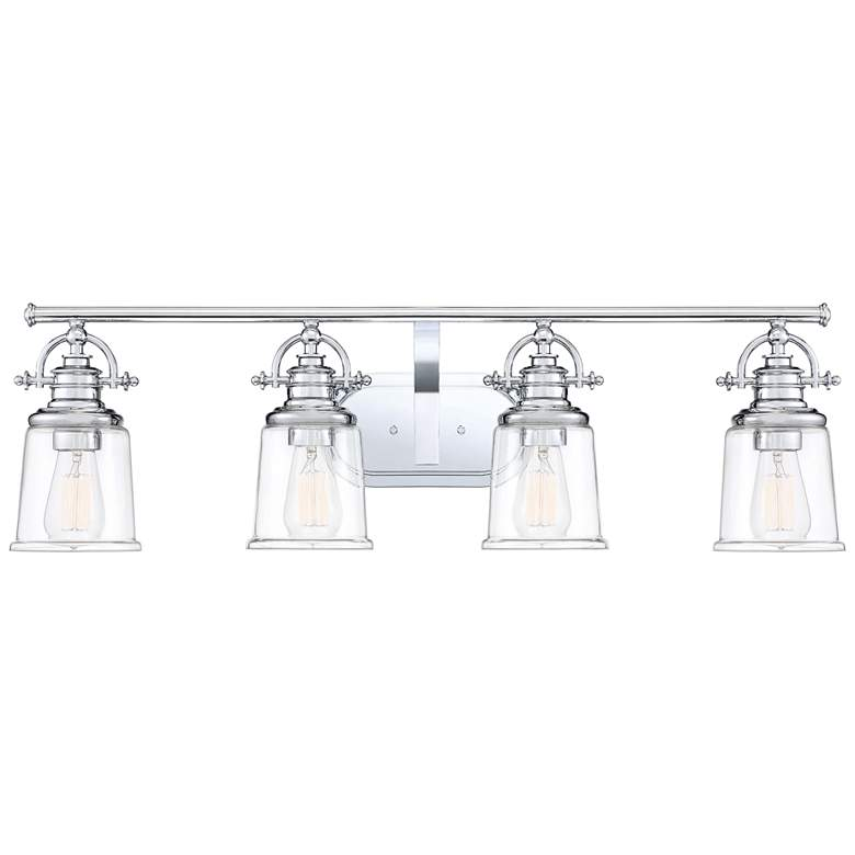 "Quoizel Grant 32"" Wide Polished Chrome 4-Light Bath Light"