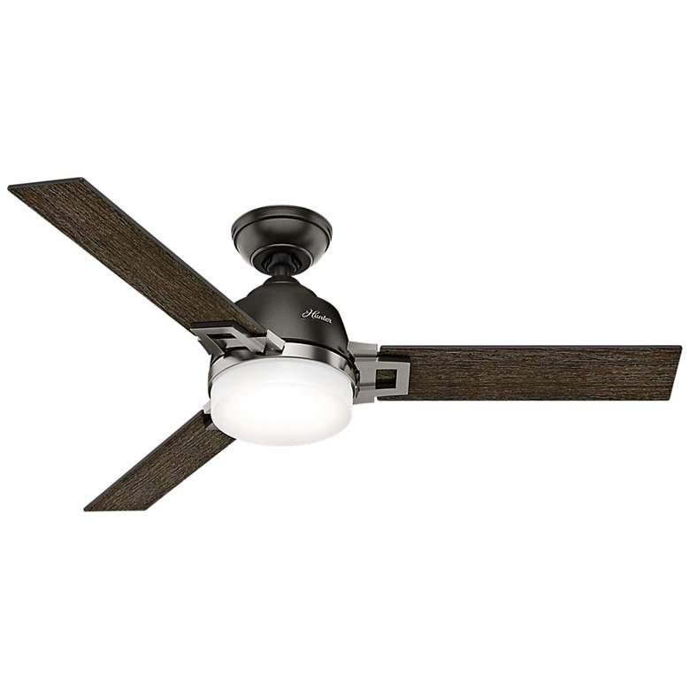 "48"" Hunter Leoni Brushed Nickel Noble Bronze LED Ceiling Fan"