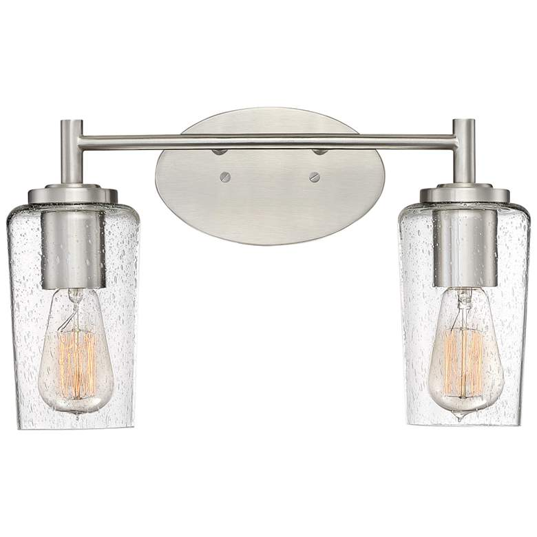 "Quoizel Edison 10"" High Brushed Nickel 2-Light Wall Sconce"