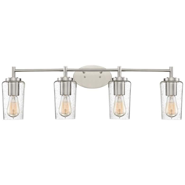 "Quoizel Edison 32 1/2""W Brushed Nickel 4-Light Bath Light"
