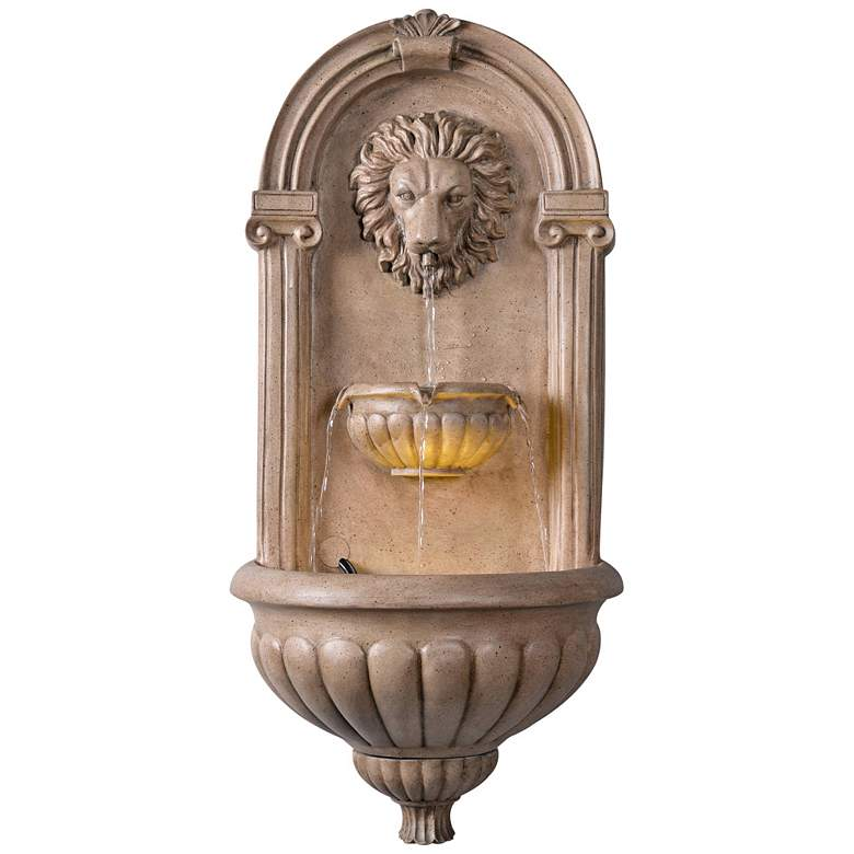 "Royal 35"" High Sandstone LED Outdoor Wall Fountain"