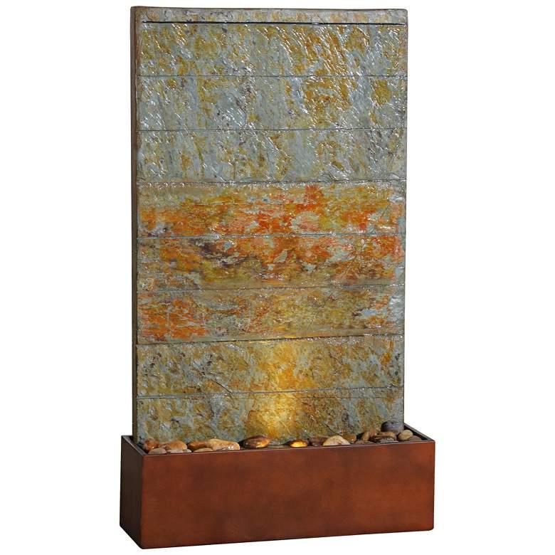 "Stream 33"" Rustic Slate Modern Floor Fountain with Light"