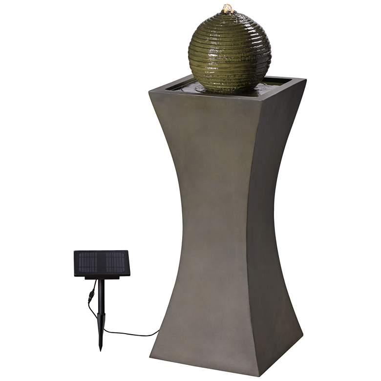 "Moss Stone 39 1/2"" High Solar LED Bubbler Fountain"