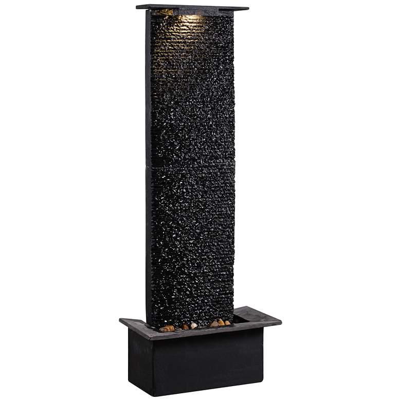 "Alluvium 48"" High Black Slate Stone Modern Floor Fountain"