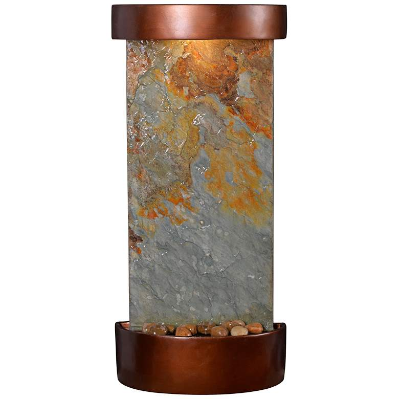 "Riverbed 25"" High Slate and Copper Outdoor LED Wall Fountain"