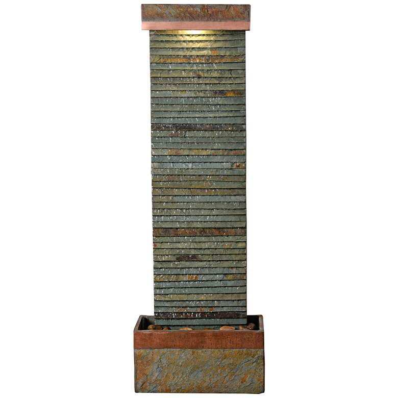 """Stave 48"""" High Slate and Copper Outdoor LED Floor Fountain"""