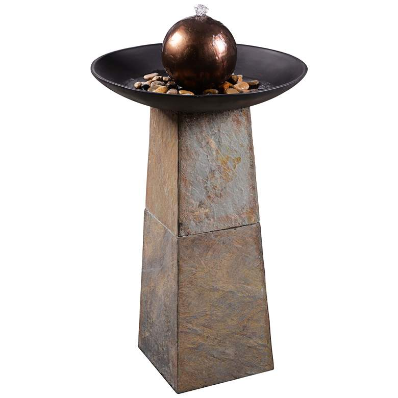 "Modern Orb 35 1/2"" Slate and Copper Bubbler Floor Fountain"