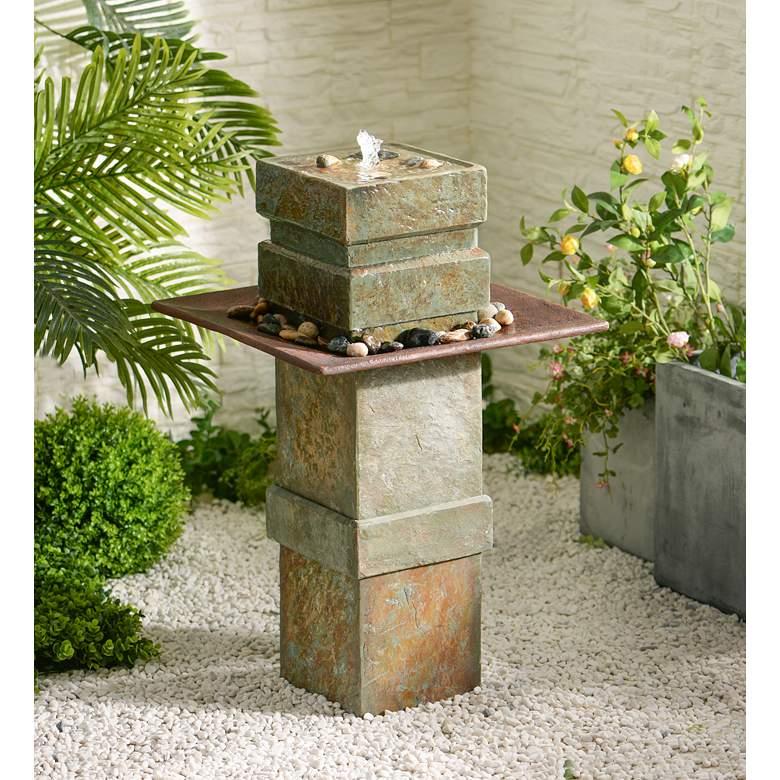 """Pilaster Post 33"""" High Slate Indoor-Outdoor Bubbler Fountain"""