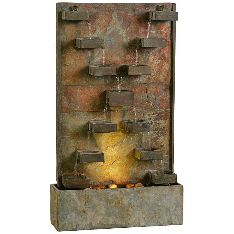 """Voyage 33"""" High Natural Slate LED Outdoor Fountain"""