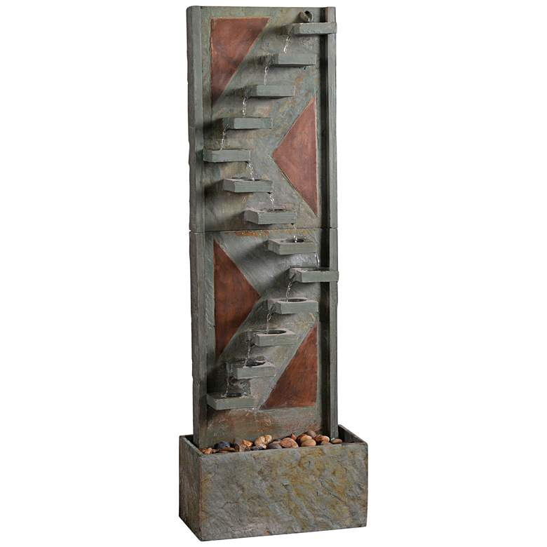"Journey 47"" High Copper and Natural Slate Fountain"