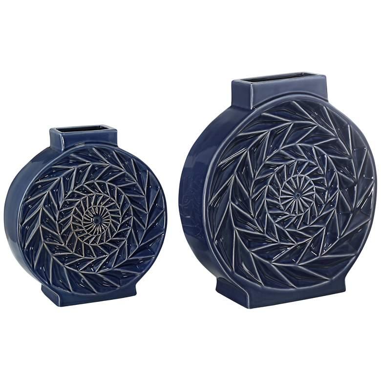 Dark Blue Circle Ceramic Vases Set of 2