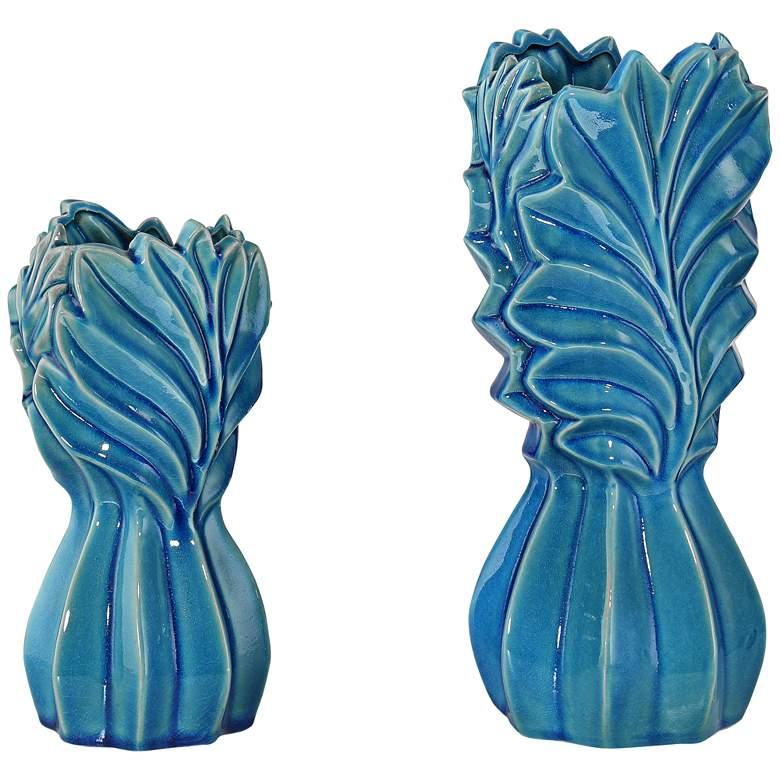 Light Blue Leaf Ceramic Jars Set of 2