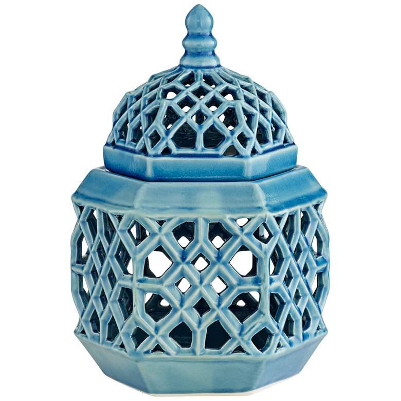 "Lachlan 12 1/4"" High Light Blue Ceramic Jar with Lid"