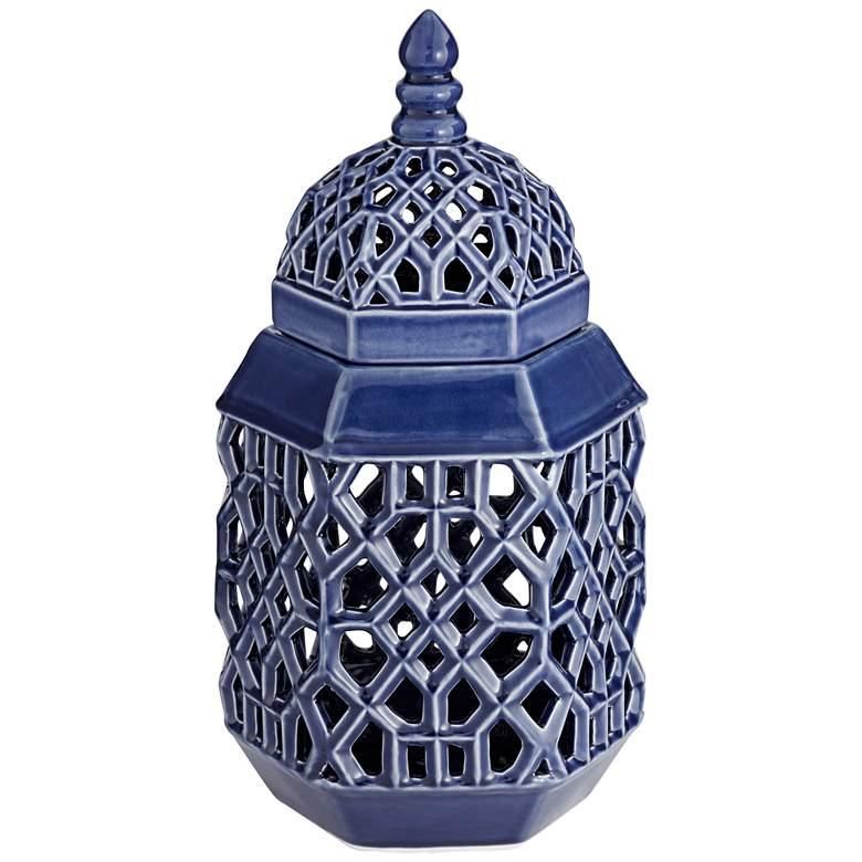 """Lachlan 16 1/2"""" High Dark Blue Ceramic Jar with Lid"""