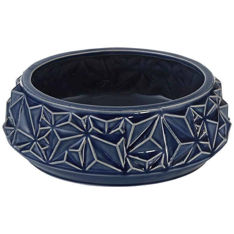 "Telus 9 1/4"" Wide Dark Blue Ceramic Bowl"