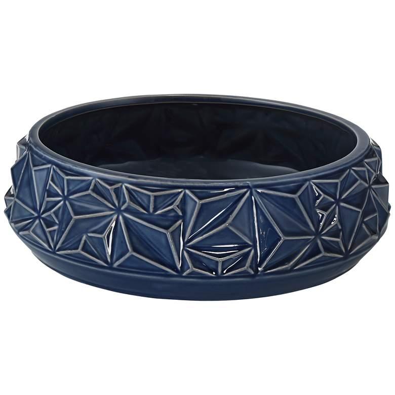 """Telus 12 1/2"""" Wide Dark Blue Ceramic Bowl"""
